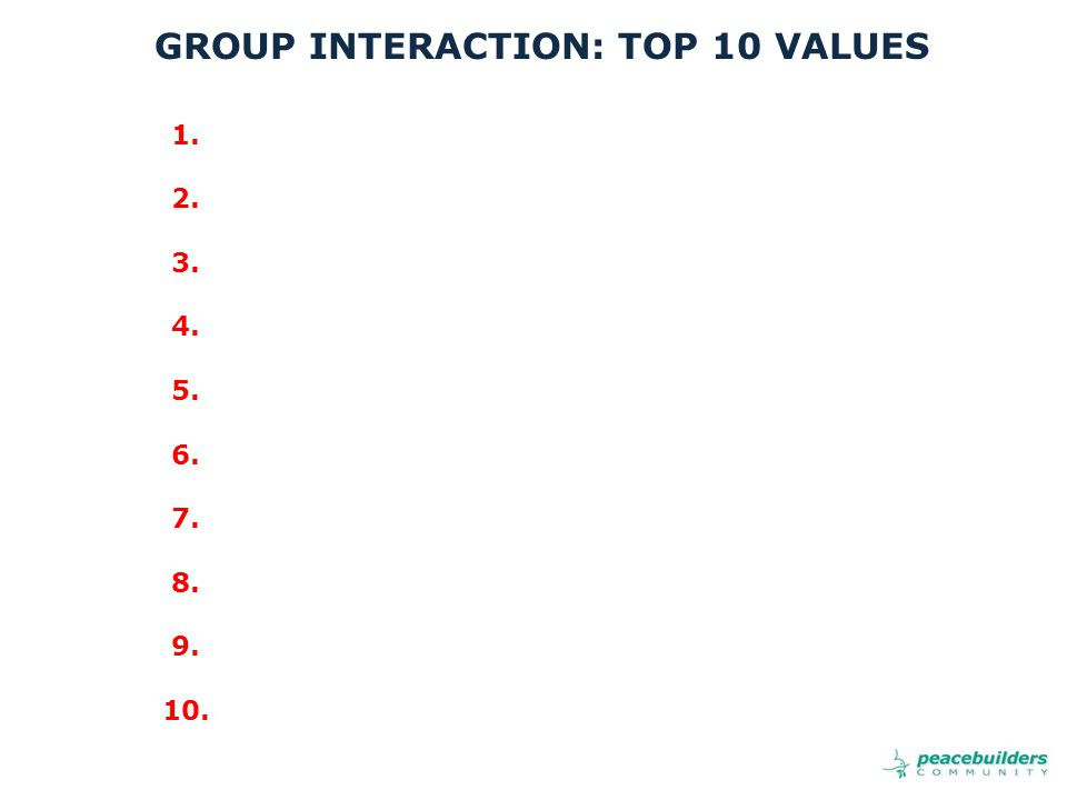 1. 2. 3. 4. 5. 6. 7. 8. 9. 10. GROUP INTERACTION: TOP 10 VALUES