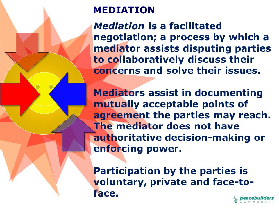 Mediation is a facilitated negotiation; a process by which a mediator assists disputing parties to collaboratively discuss their concerns and solve their issues.