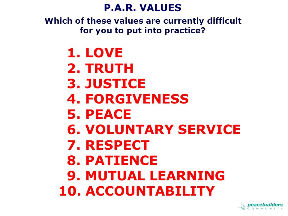P.A.R. VALUES Which of these values are currently difficult for you to put into practice.