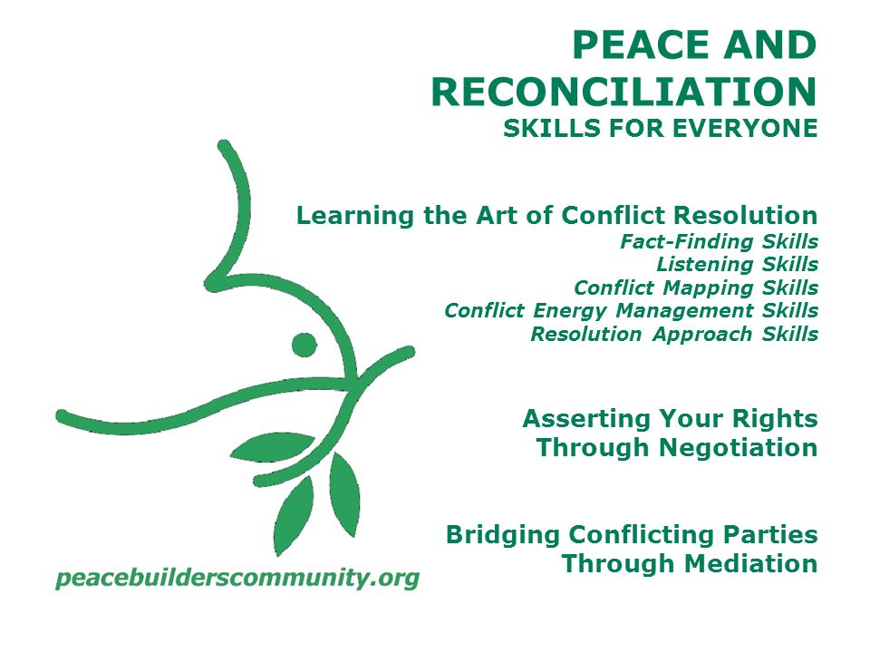 PEACE AND RECONCILIATION SKILLS FOR EVERYONE Learning the Art of Conflict Resolution Fact-Finding Skills Listening Skills Conflict Mapping Skills Conflict Energy Management Skills Resolution Approach Skills Asserting Your Rights Through Negotiation Bridging Conflicting Parties Through Mediation