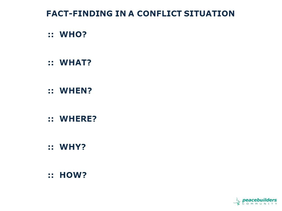 FACT-FINDING IN A CONFLICT SITUATION :: WHO :: WHAT :: WHEN :: WHERE :: WHY :: HOW