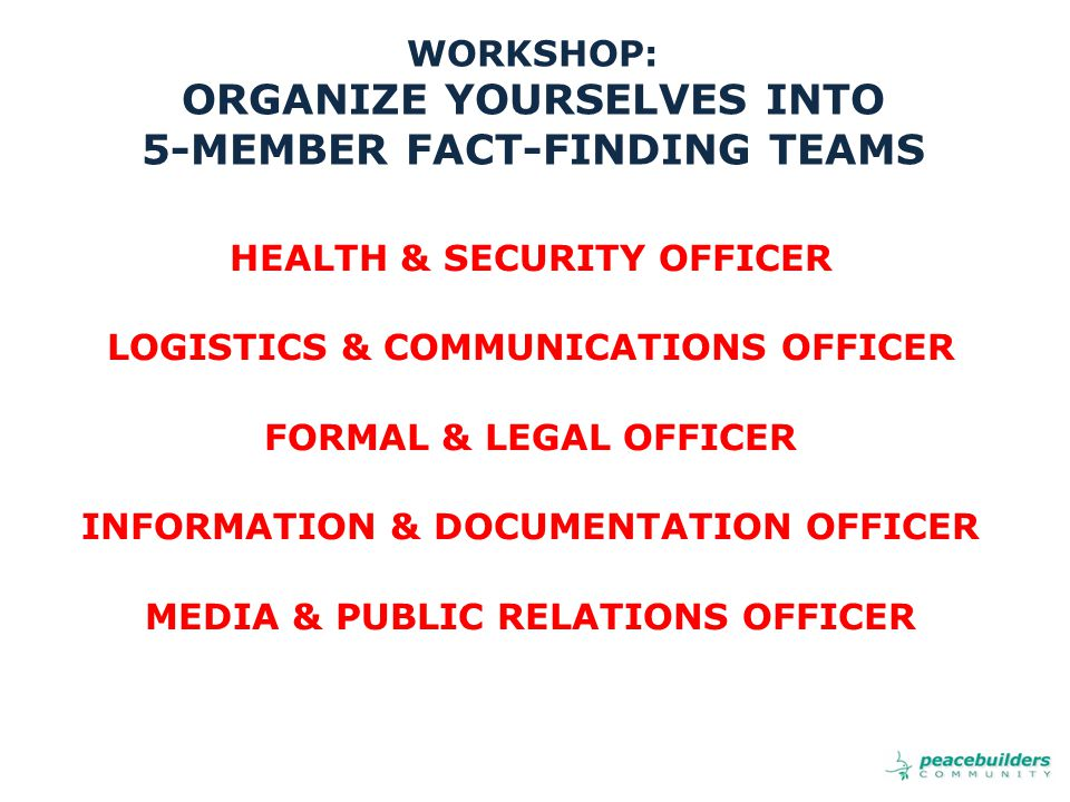 WORKSHOP: ORGANIZE YOURSELVES INTO 5-MEMBER FACT-FINDING TEAMS HEALTH & SECURITY OFFICER LOGISTICS & COMMUNICATIONS OFFICER FORMAL & LEGAL OFFICER INFORMATION & DOCUMENTATION OFFICER MEDIA & PUBLIC RELATIONS OFFICER