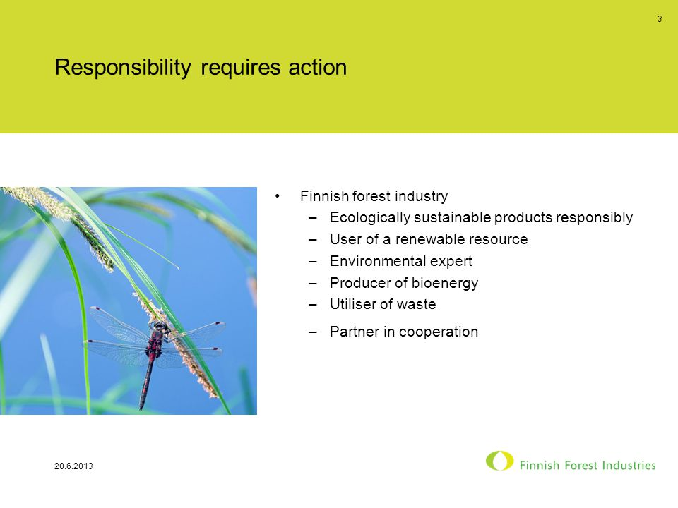 Responsibility requires action Finnish forest industry –Ecologically sustainable products responsibly –User of a renewable resource –Environmental expert –Producer of bioenergy –Utiliser of waste –Partner in cooperation 20.6.2013 3