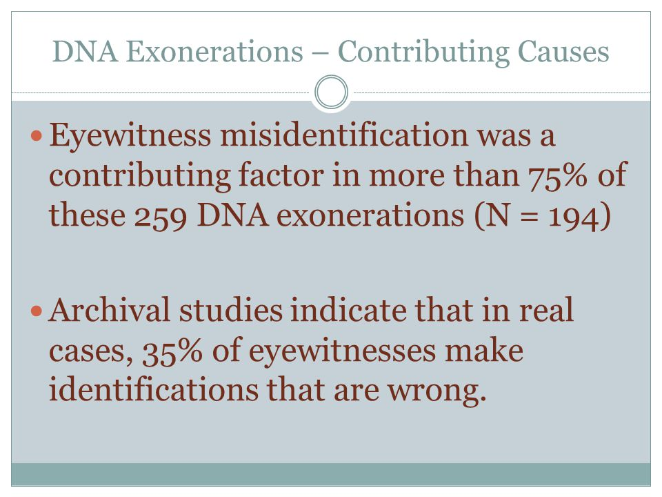 Misidentification in Texas In 33 of the 40 Texas cases, eyewitness misidentification was a contributing factor in the wrongful conviction.