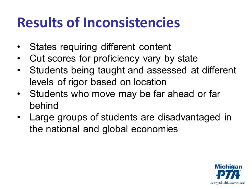 Results of Inconsistencies States requiring different content Cut scores for proficiency vary by state Students being taught and assessed at different levels of rigor based on location Students who move may be far ahead or far behind Large groups of students are disadvantaged in the national and global economies