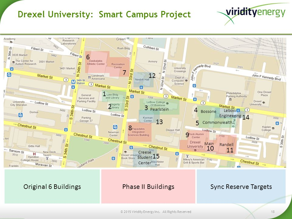 18© 2015 Viridity Energy Inc. All Rights Reserved Drexel University: Smart Campus Project Randell Bossone Pearlstein Main 1 4 2 3 5 6 7 8 11 10 9 Cree