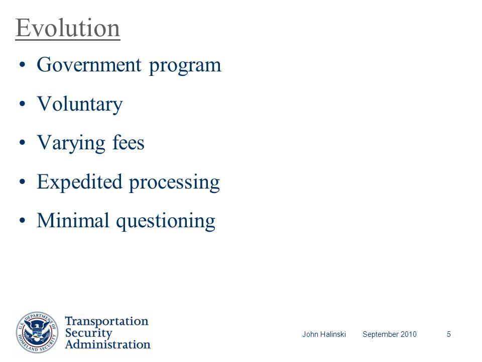John Halinski September 20105 Evolution Government program Voluntary Varying fees Expedited processing Minimal questioning