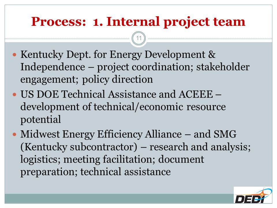 Process: 1. Internal project team 11 Kentucky Dept. for Energy Development & Independence – project coordination; stakeholder engagement; policy direc