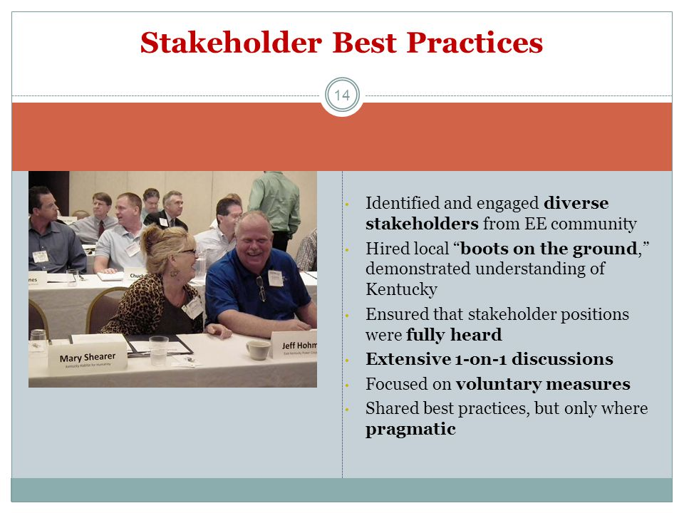 "Identified and engaged diverse stakeholders from EE community Hired local ""boots on the ground,"" demonstrated understanding of Kentucky Ensured that s"