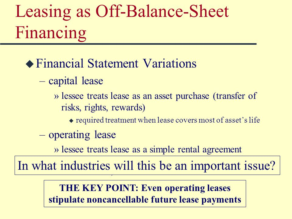 Leasing as Off-Balance-Sheet Financing u Financial Statement Variations –capital lease »lessee treats lease as an asset purchase (transfer of risks, rights, rewards) u required treatment when lease covers most of asset's life –operating lease »lessee treats lease as a simple rental agreement u required treatment when lease term is short (in relation to asset's life) THE KEY POINT: Even operating leases stipulate noncancellable future lease payments In what industries will this be an important issue