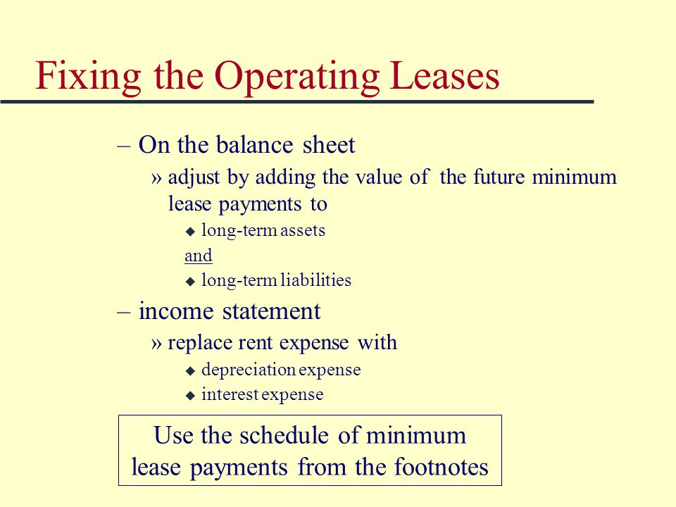 Fixing the Operating Leases –On the balance sheet »adjust by adding the value of the future minimum lease payments to u long-term assets and u long-term liabilities –income statement »replace rent expense with u depreciation expense u interest expense Use the schedule of minimum lease payments from the footnotes