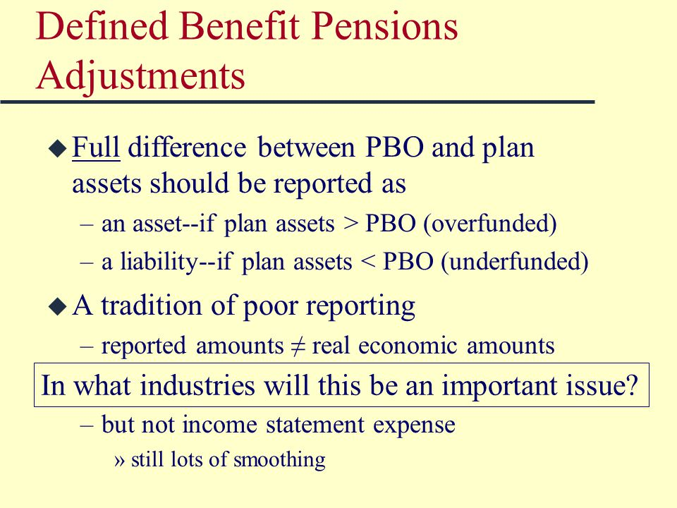 Defined Benefit Pensions Adjustments u Full difference between PBO and plan assets should be reported as –an asset--if plan assets > PBO (overfunded) –a liability--if plan assets < PBO (underfunded) u A tradition of poor reporting –reported amounts ≠ real economic amounts u SFAS 158 has fixed balance sheets… –but not income statement expense »still lots of smoothing In what industries will this be an important issue