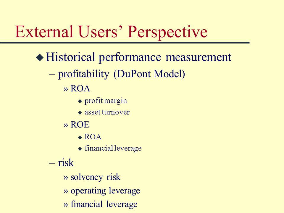 External Users' Perspective u Historical performance measurement –profitability (DuPont Model) »ROA u profit margin u asset turnover »ROE u ROA u financial leverage –risk »solvency risk »operating leverage »financial leverage