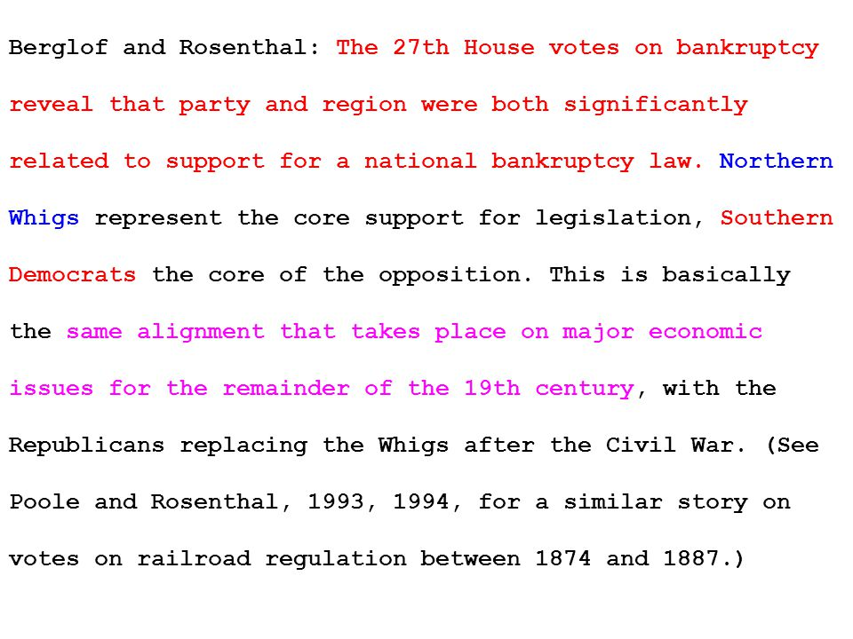 Berglof and Rosenthal: The 27th House votes on bankruptcy reveal that party and region were both significantly related to support for a national bankruptcy law.