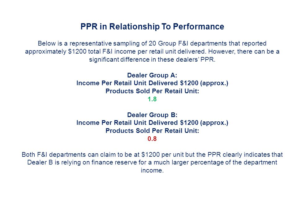 PPR in Relationship To Performance Below is a representative sampling of 20 Group F&I departments that reported approximately $1200 total F&I income per retail unit delivered.