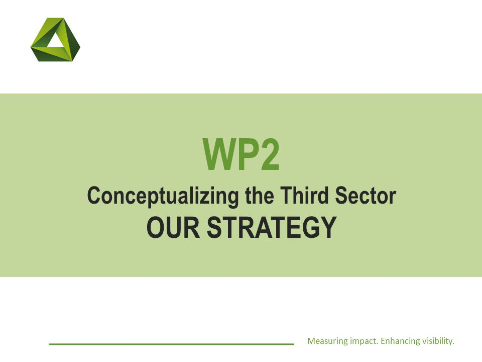 Measuring impact. Enhancing visibility. WP2 Conceptualizing the Third Sector OUR STRATEGY