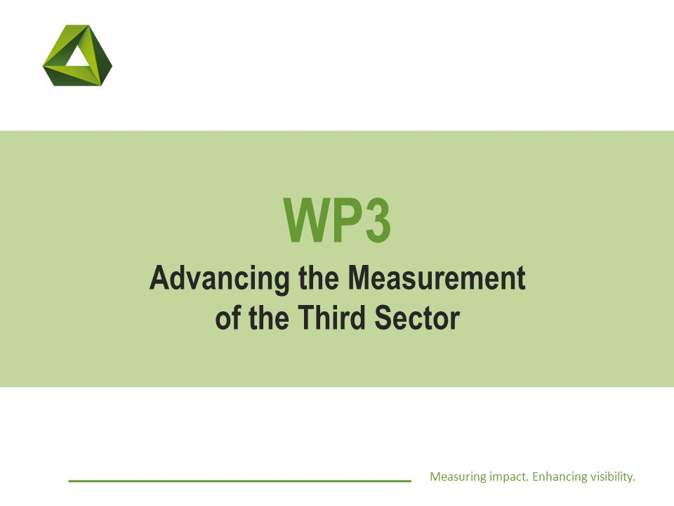 Measuring impact. Enhancing visibility. WP3 Advancing the Measurement of the Third Sector