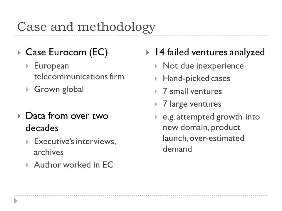 Case and methodology  Case Eurocom (EC)  European telecommunications firm  Grown global  Data from over two decades  Executive's interviews, arch