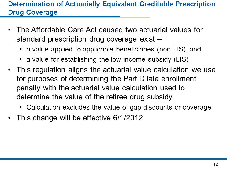 12 Determination of Actuarially Equivalent Creditable Prescription Drug Coverage The Affordable Care Act caused two actuarial values for standard prescription drug coverage exist – a value applied to applicable beneficiaries (non-LIS), and a value for establishing the low-income subsidy (LIS) This regulation aligns the actuarial value calculation we use for purposes of determining the Part D late enrollment penalty with the actuarial value calculation used to determine the value of the retiree drug subsidy Calculation excludes the value of gap discounts or coverage This change will be effective 6/1/2012