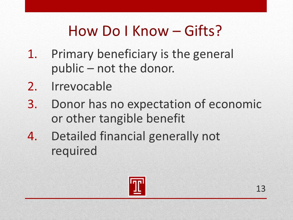 How Do I Know – Gifts. 1.Primary beneficiary is the general public – not the donor.