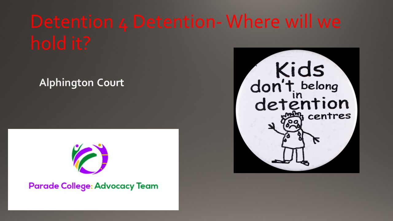 Detention 4 Detention- Where will we hold it?