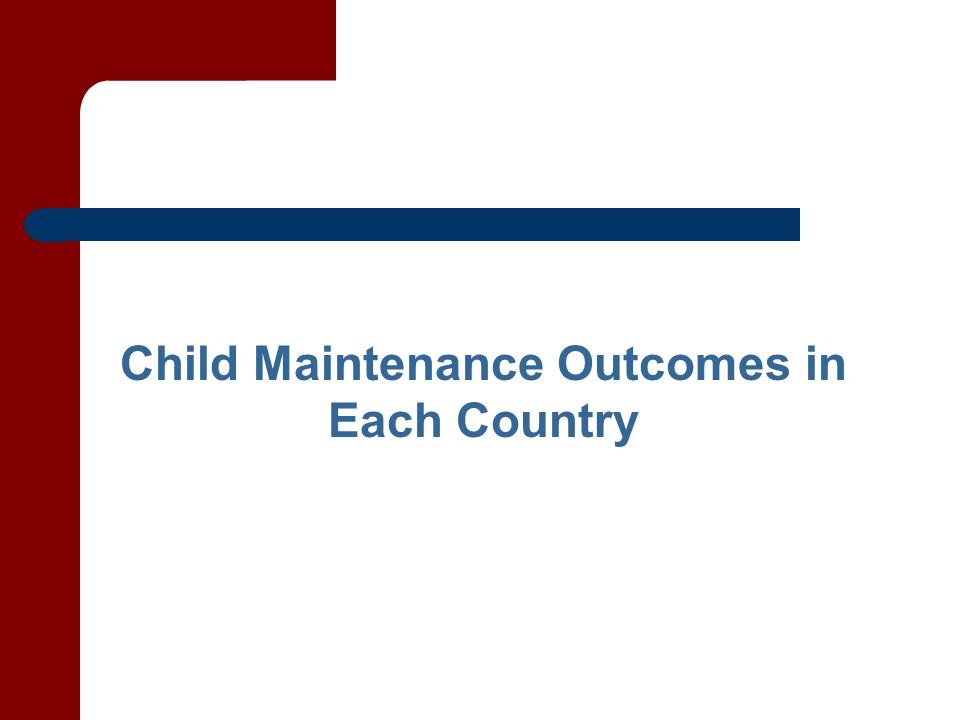 Child Maintenance Outcomes in Each Country