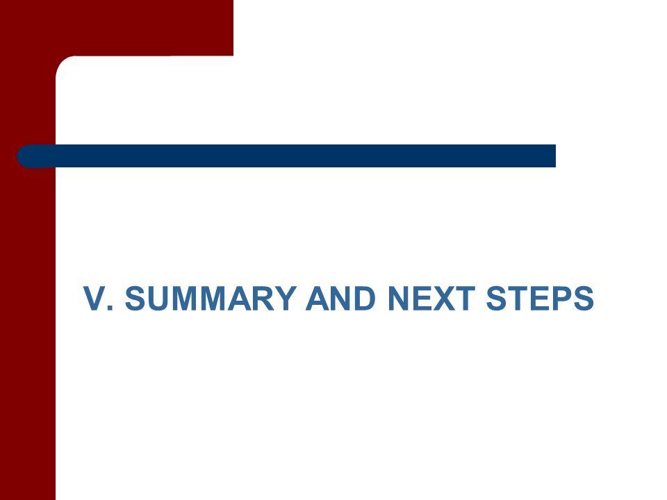 V. SUMMARY AND NEXT STEPS