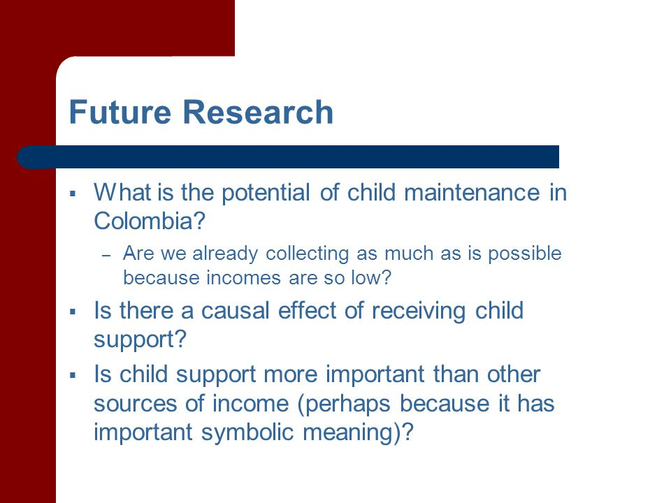 Future Research  What is the potential of child maintenance in Colombia.