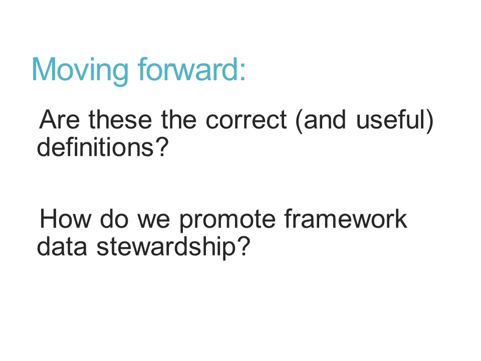 Moving forward: Are these the correct (and useful) definitions? How do we promote framework data stewardship?