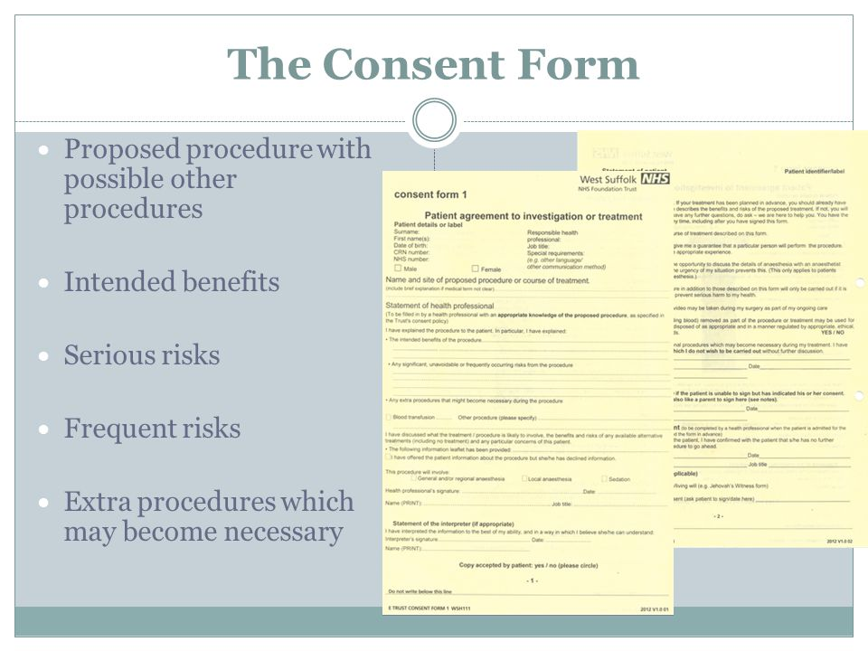 The Consent Form Proposed procedure with possible other procedures Intended benefits Serious risks Frequent risks Extra procedures which may become ne