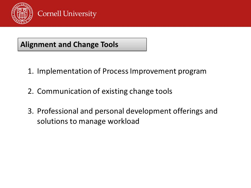 1.Implementation of Process Improvement program 2.Communication of existing change tools 3.Professional and personal development offerings and solutions to manage workload Alignment and Change Tools