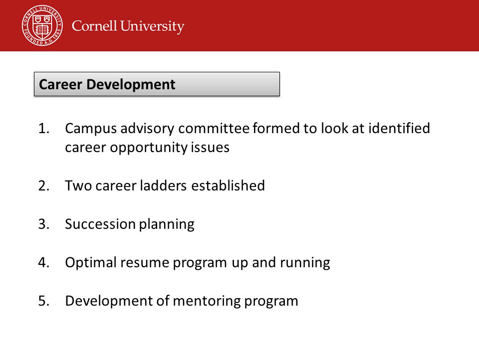 1.Campus advisory committee formed to look at identified career opportunity issues 2.Two career ladders established 3.Succession planning 4.Optimal resume program up and running 5.Development of mentoring program Career Development