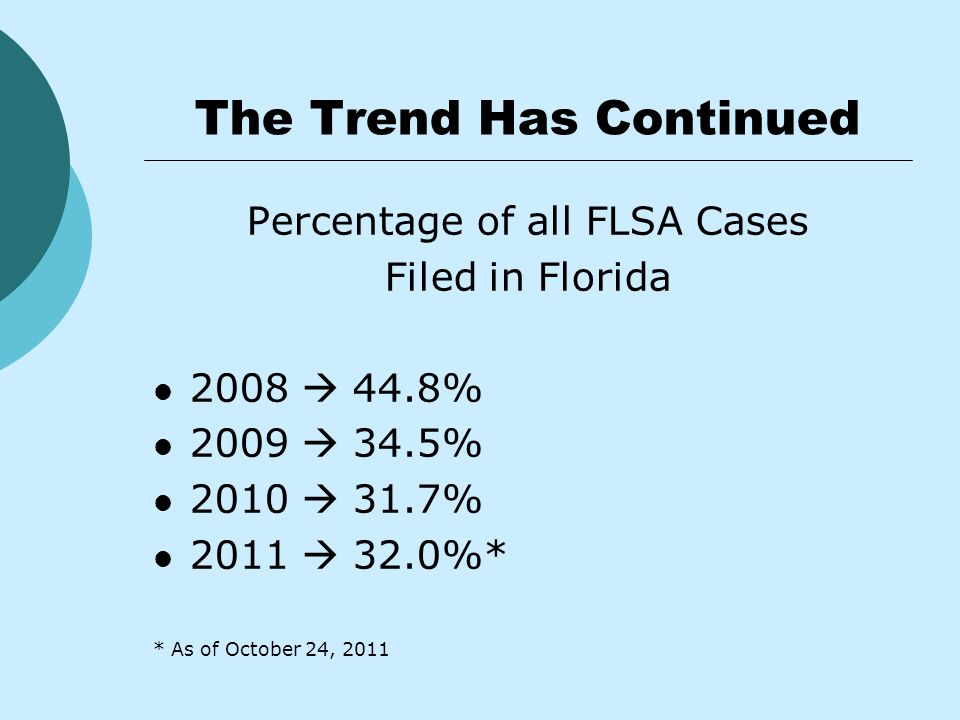 The Trend Has Continued Percentage of all FLSA Cases Filed in Florida 2008  44.8% 2009  34.5% 2010  31.7% 2011  32.0%* * As of October 24, 2011