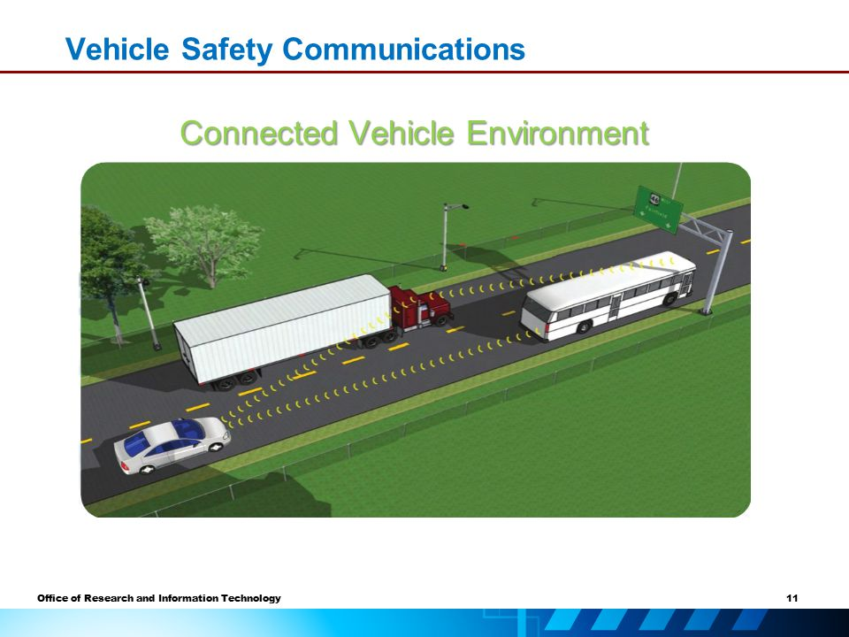11 Office of Research and Information Technology Vehicle Safety Communications Connected Vehicle Environment