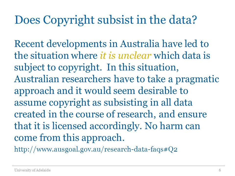 Does Copyright subsist in the data.