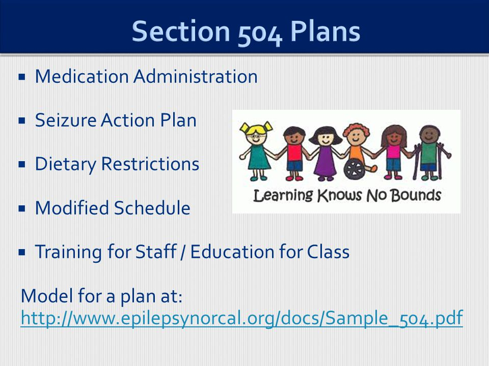  Medication Administration  Seizure Action Plan  Dietary Restrictions  Modified Schedule  Training for Staff / Education for Class Model for a plan at: http://www.epilepsynorcal.org/docs/Sample_504.pdf http://www.epilepsynorcal.org/docs/Sample_504.pdf