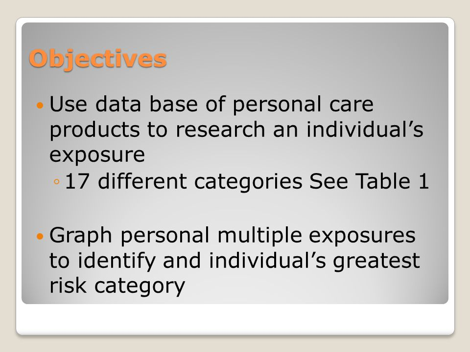 Objectives Use data base of personal care products to research an individual's exposure ◦17 different categories See Table 1 Graph personal multiple exposures to identify and individual's greatest risk category