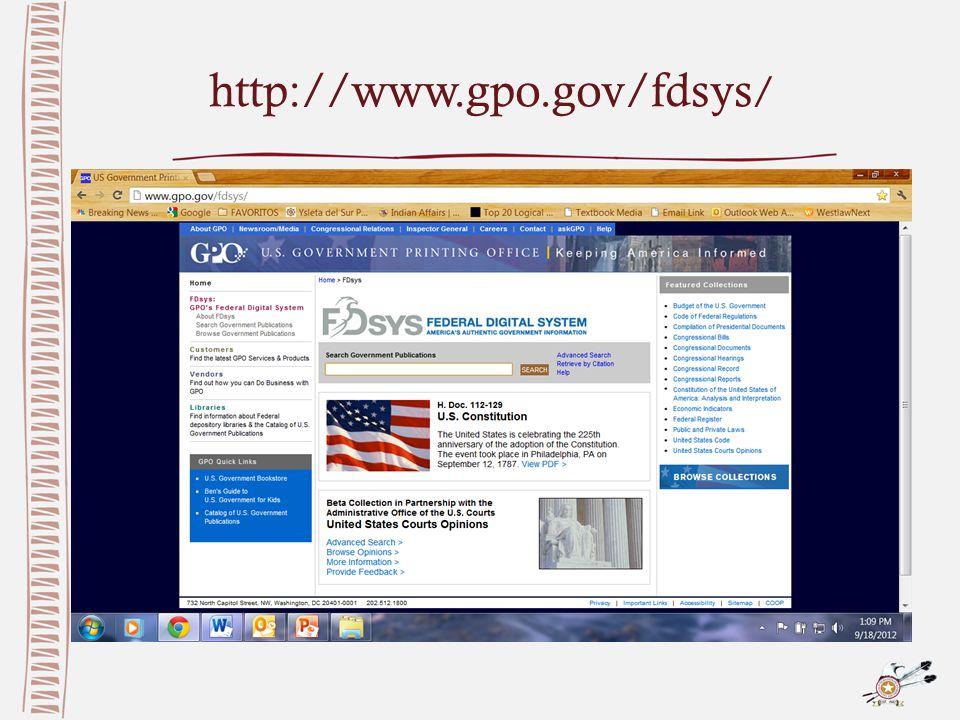 http://www.gpo.gov/fdsys /