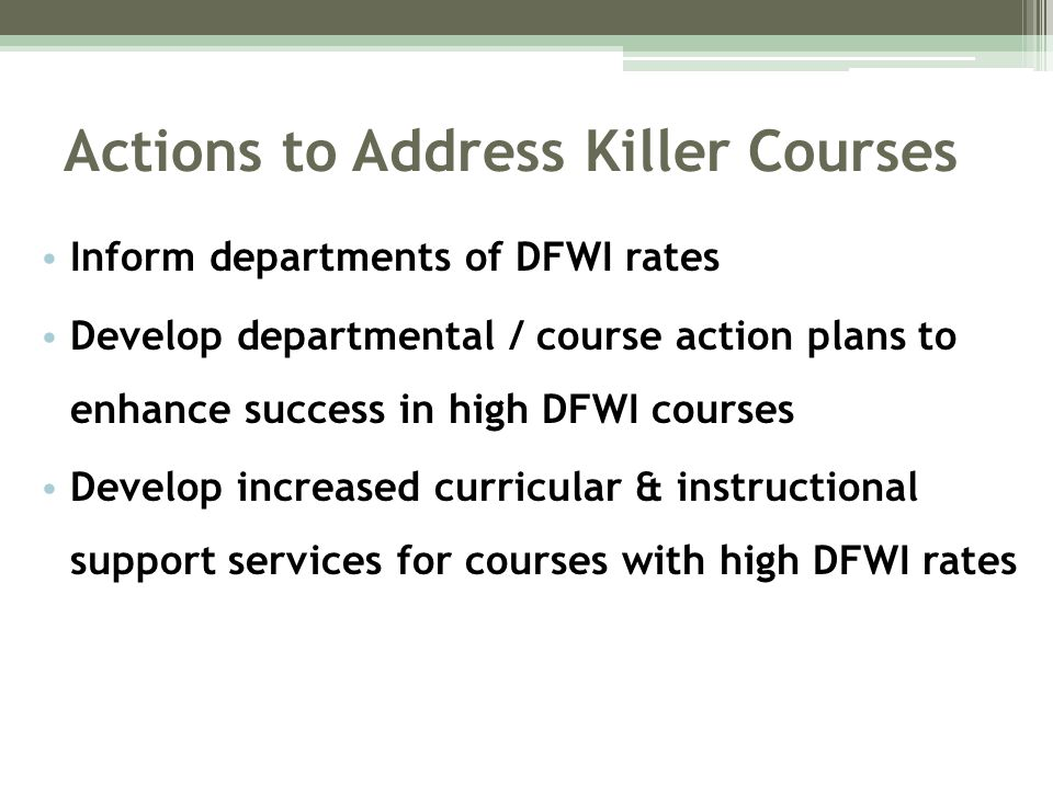 Actions to Address Killer Courses Inform departments of DFWI rates Develop departmental / course action plans to enhance success in high DFWI courses Develop increased curricular & instructional support services for courses with high DFWI rates
