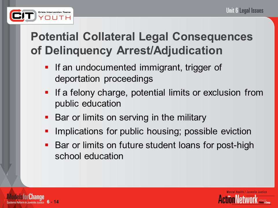 Potential Collateral Legal Consequences of Delinquency Arrest/Adjudication  If an undocumented immigrant, trigger of deportation proceedings  If a felony charge, potential limits or exclusion from public education  Bar or limits on serving in the military  Implications for public housing; possible eviction  Bar or limits on future student loans for post-high school education 6 - 14