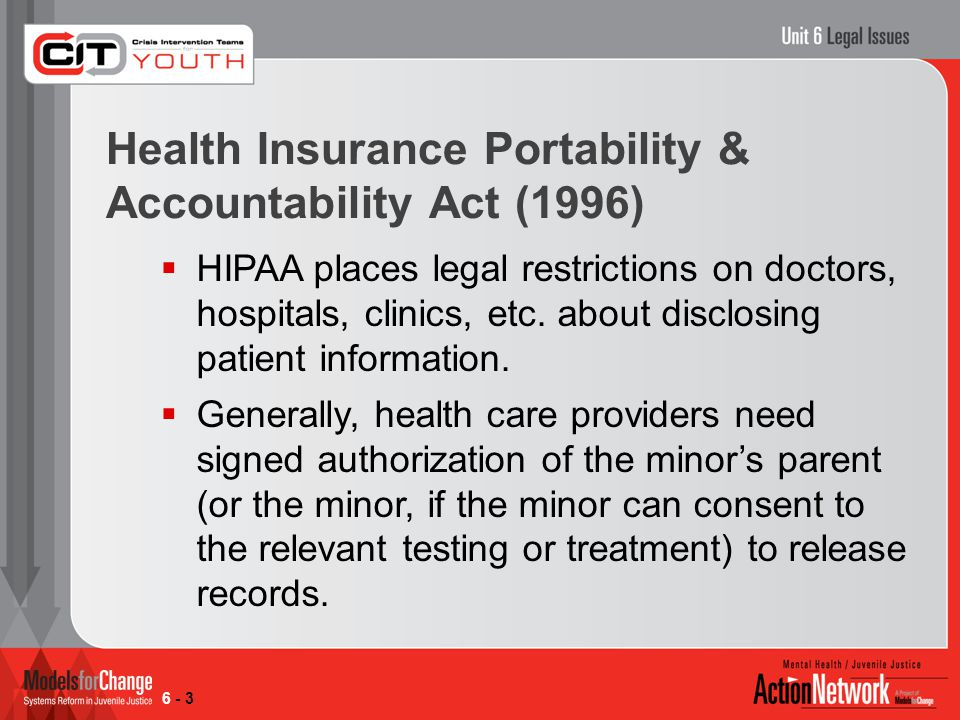  HIPAA places legal restrictions on doctors, hospitals, clinics, etc.