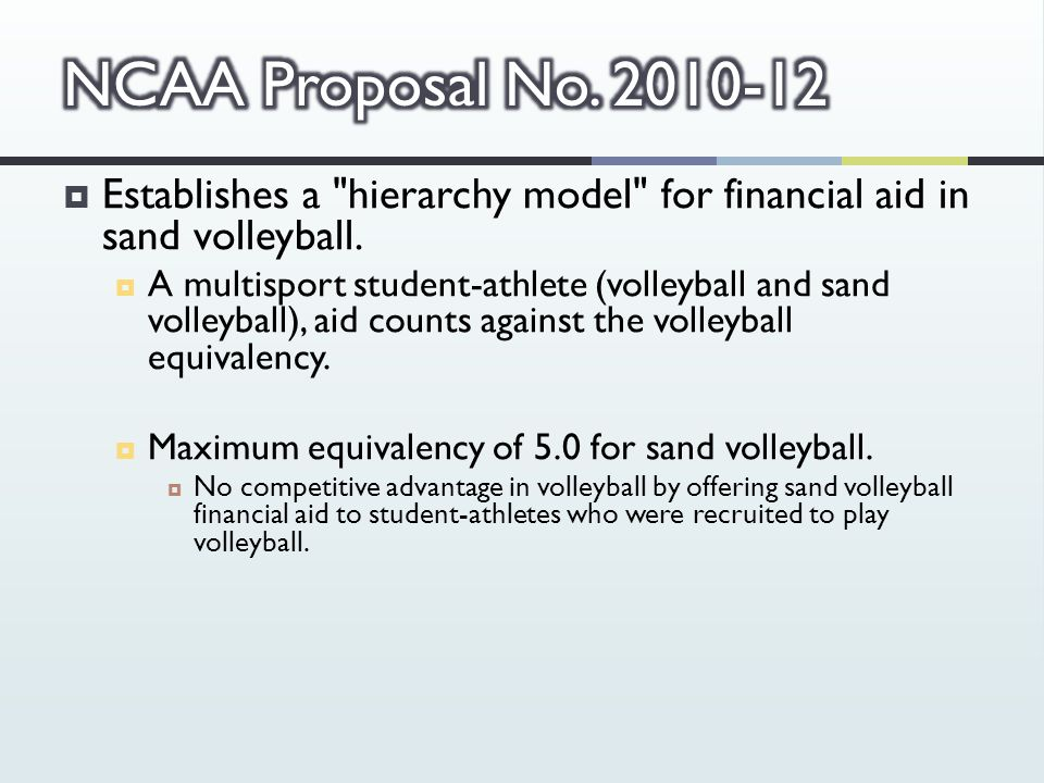  Establishes a hierarchy model for financial aid in sand volleyball.