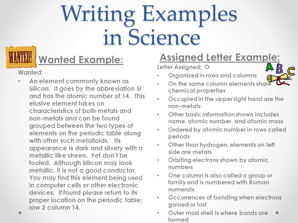 Writing Examples in Science Wanted Example: Assigned Letter Example: Wanted: An element commonly known as Silicon.