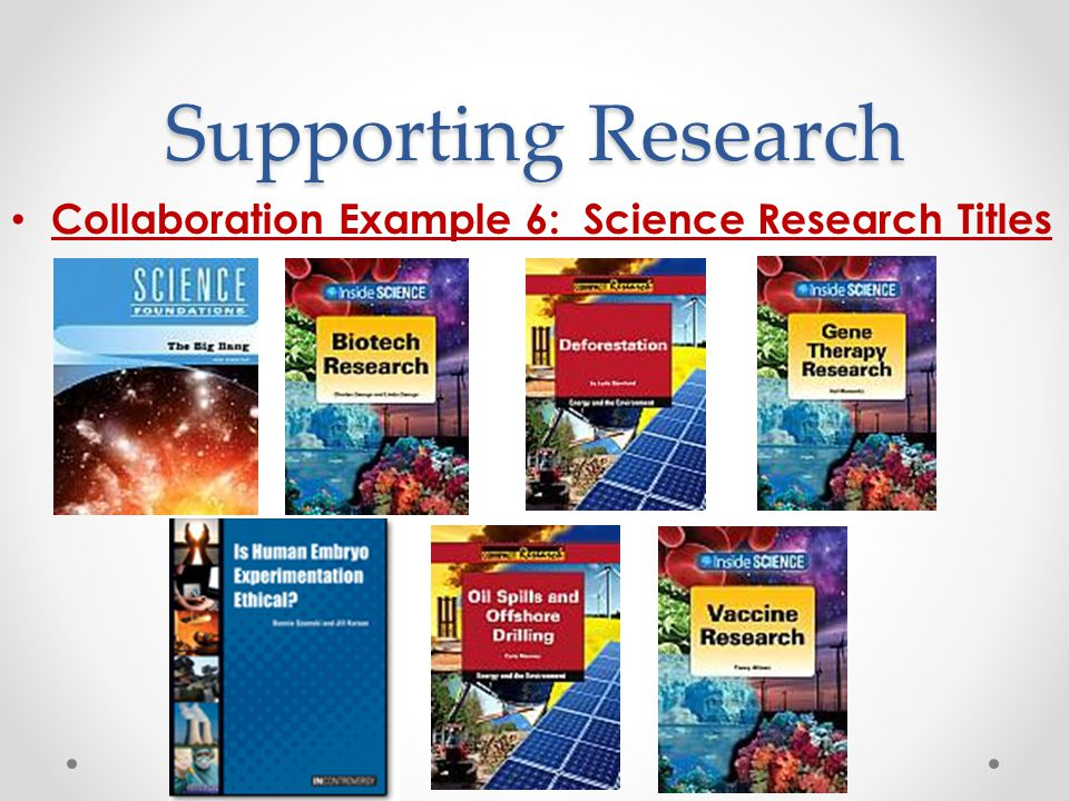 Supporting Research Collaboration Example 6: Science Research Titles
