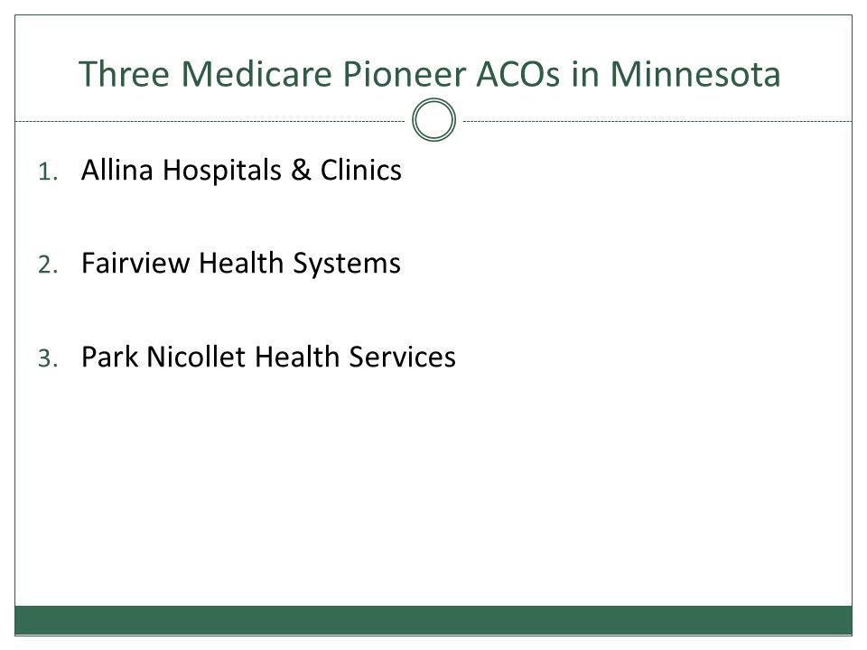 Three Medicare Pioneer ACOs in Minnesota 1. Allina Hospitals & Clinics 2.