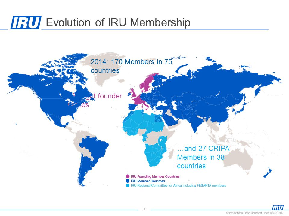 3 Evolution of IRU Membership 1948: eight founder countries 2014: 170 Members in 75 countries …and 27 CRIPA Members in 38 countries