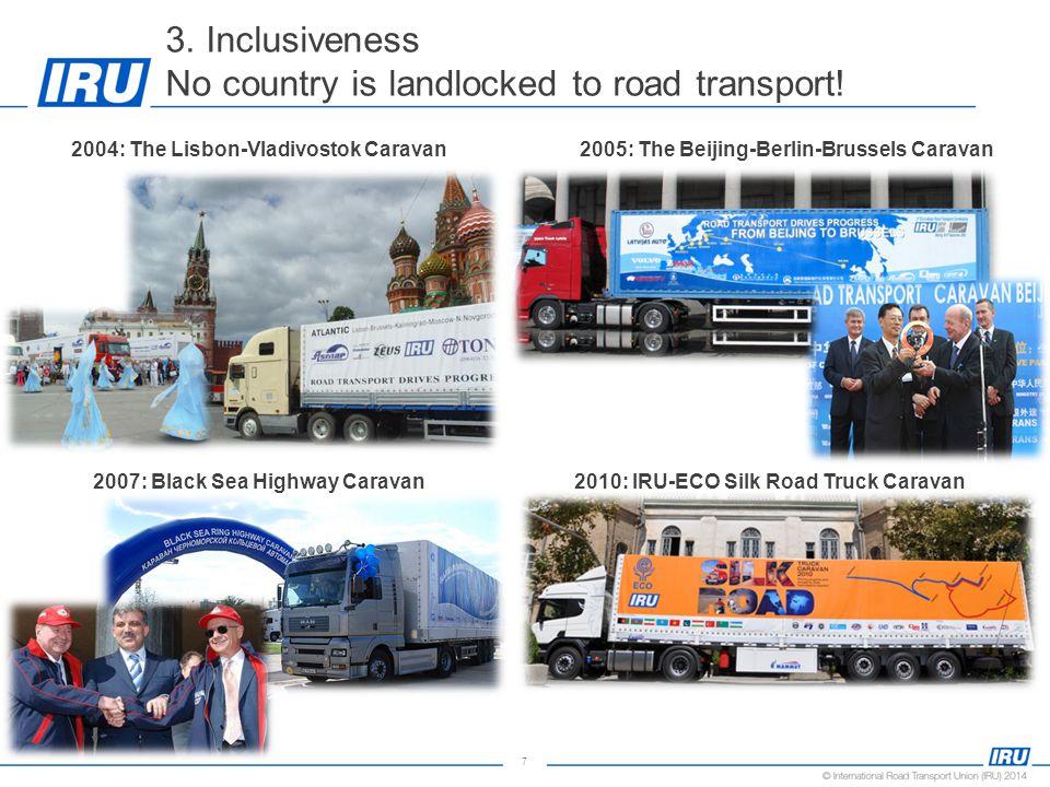 7 3. Inclusiveness No country is landlocked to road transport! 2004: The Lisbon-Vladivostok Caravan2005: The Beijing-Berlin-Brussels Caravan 2010: IRU