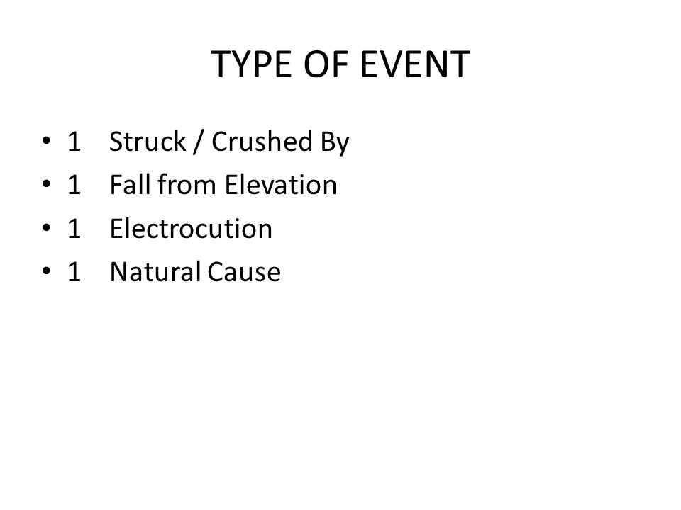 TYPE OF EVENT 1Struck / Crushed By 1Fall from Elevation 1Electrocution 1Natural Cause