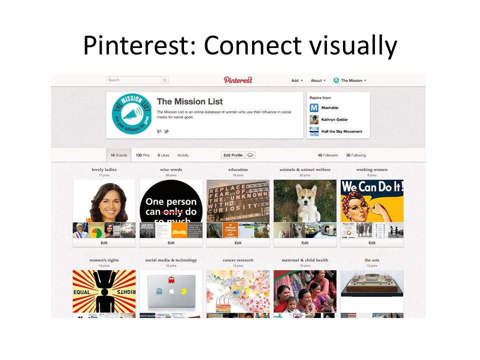 Pinterest: Connect visually