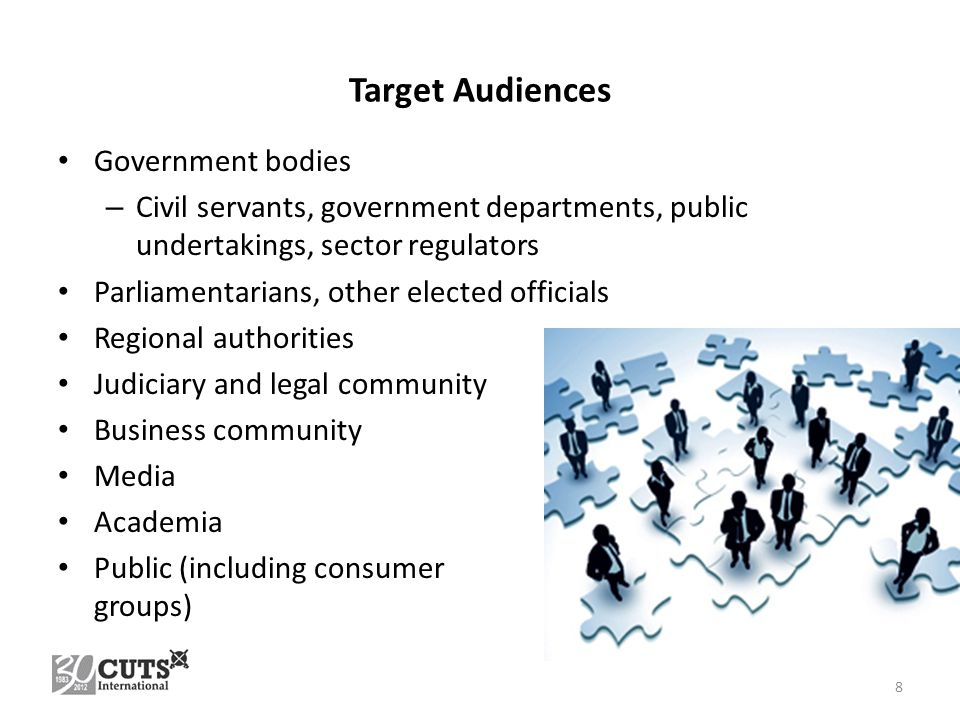 Target Audiences Government bodies – Civil servants, government departments, public undertakings, sector regulators Parliamentarians, other elected officials Regional authorities Judiciary and legal community Business community Media Academia Public (including consumer groups) 8
